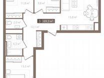 3-к квартира, 74.1 м², 5/7 эт. — Квартиры в Тюмени