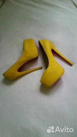 Туфли желтые замша Christian Louboutin бу  7bcbdd289fc1d