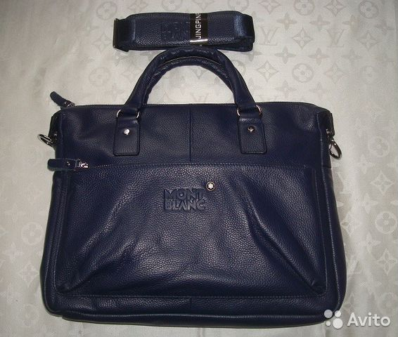 ecc63e467c29 Мужская кожаная сумка Montblanc Blue Мужские сумки купить в Москве ...