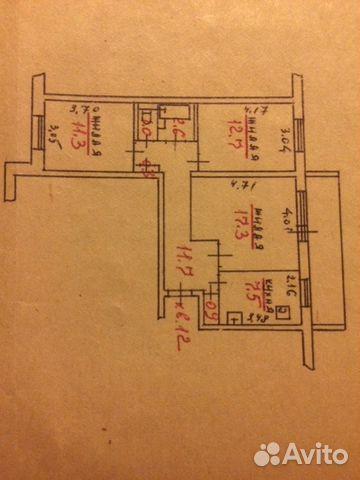 Продам 3-комнатную - лесной проспект, д. 33.кв. 12, 5.3 кв.м.
