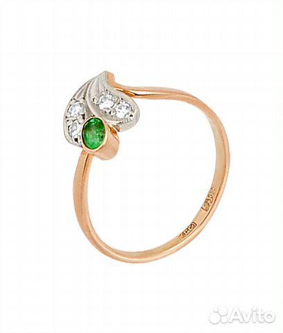 Золотое кольцо с изумрудами и бриллиантами 0,12ct купить в Москве на ... c12652a3a9f