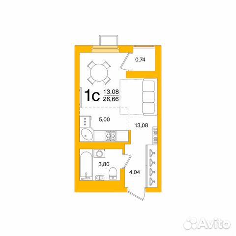 1-к квартира, 26.7 м², 1/26 эт. купить 1