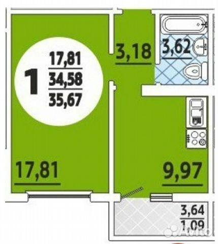 1-к квартира, 36 м², 7/16 эт.
