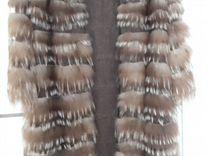 Пальто из меха лисы на 100 кашемире