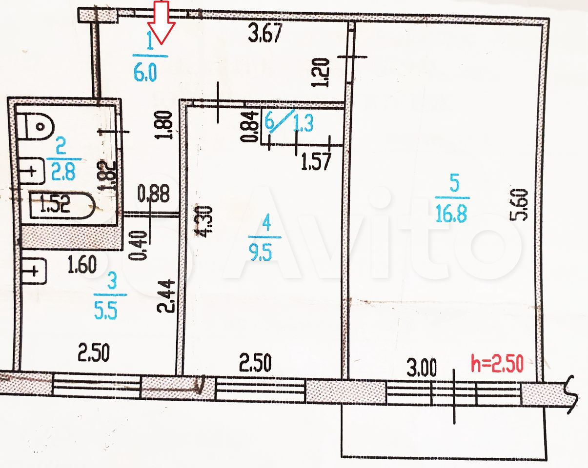2-к квартира, 41.9 м², 5/5 эт.  89029980101 купить 2