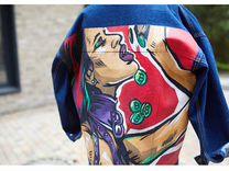 Джинсовая куртка с росписью — Одежда, обувь, аксессуары в Москве