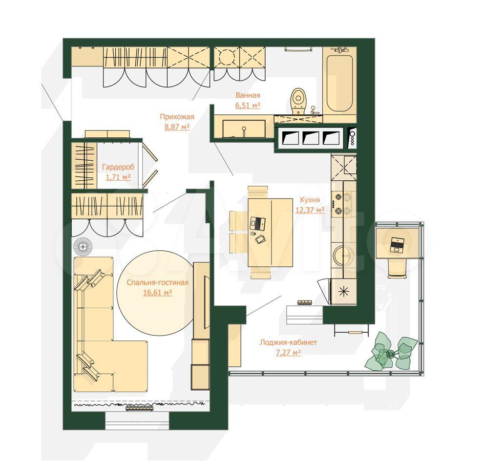 1-к квартира, 53.4 м², 1/9 эт.  89275838241 купить 1