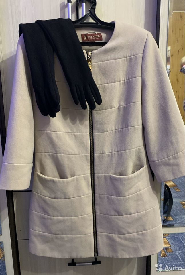 Пальто осеннее три четверти рукав 42-44 + перчатки